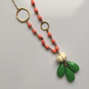 Anthropologie Green Pink Necklace